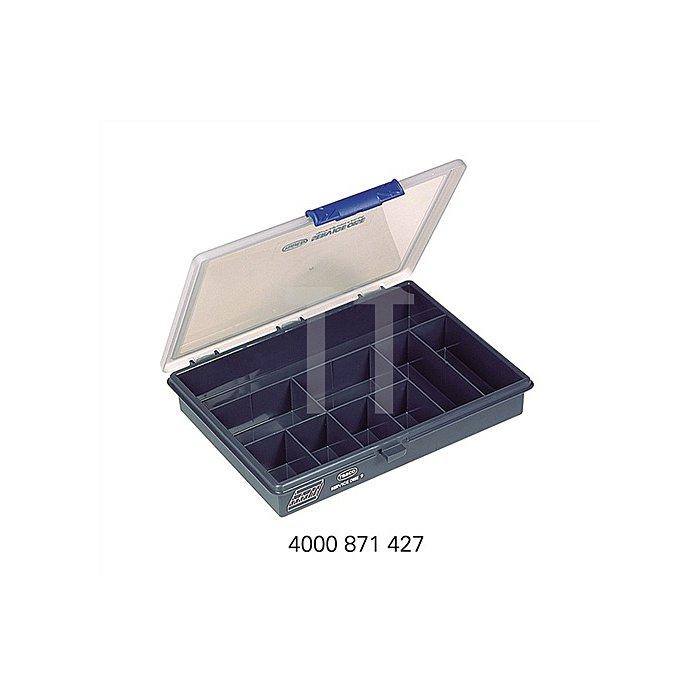 Sortimentskasten B.240xT.195xH.43mm 9Fächer dunkelblau/transp. a.PP