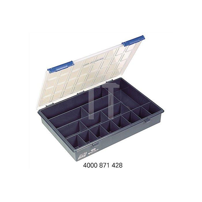 Sortimentskasten B.338xT.261xH.57mm 15Fächer dunkelblau/transp. a.PP