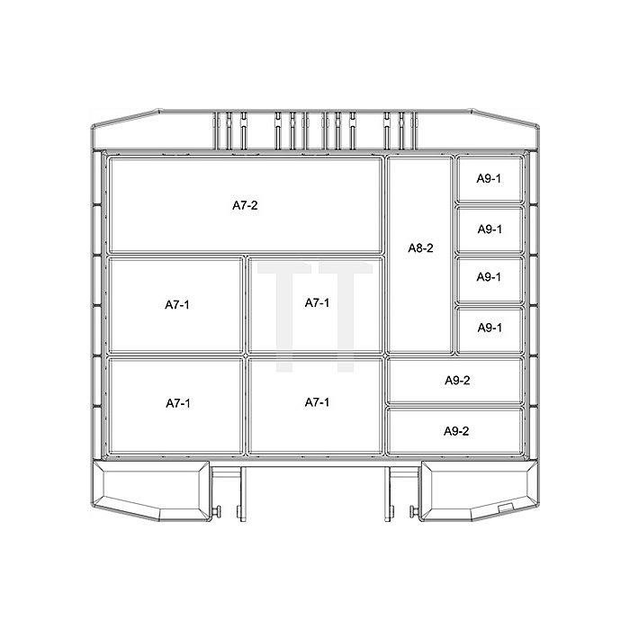 Sortimentskoffer B.354xT.323xH.55mm 12Fächer Einsätze lose PP/PC