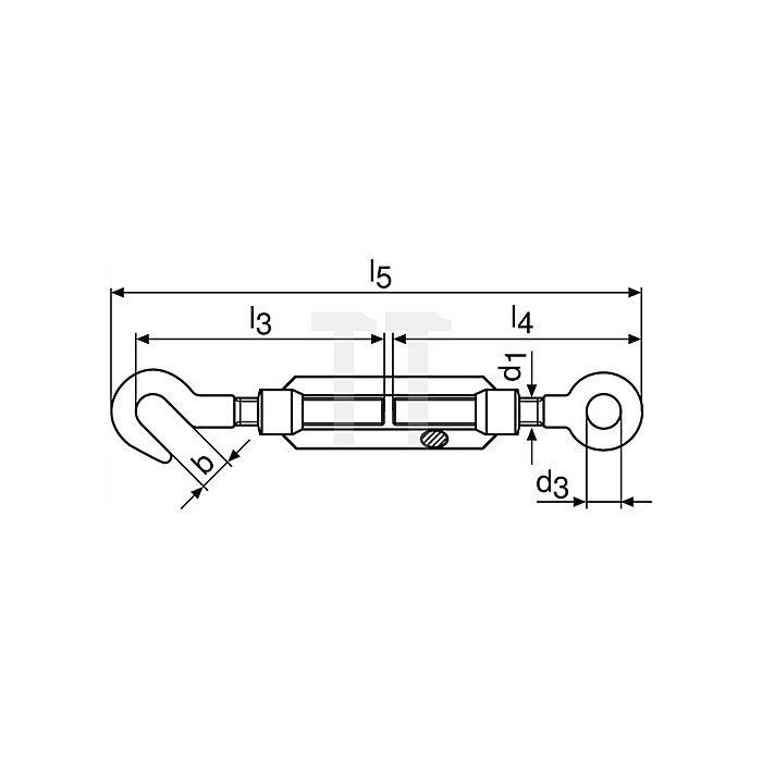 Spannschloss DIN1480 verz.m.Haken u.Öse L.213-298mm M10 Augen-W.14mm