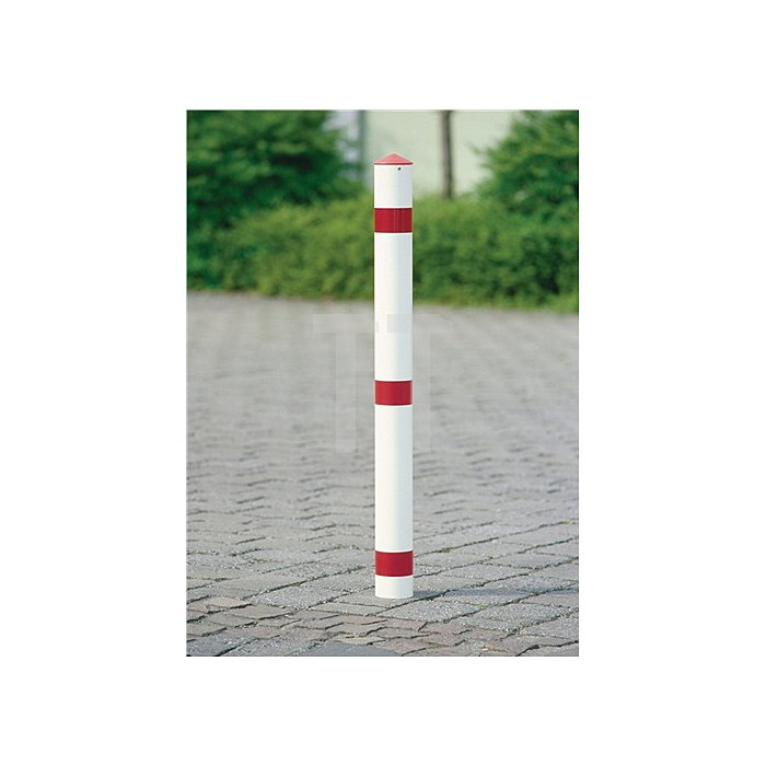 Sperrpfosten Stahl Bodenhülse u.Dreikantschloss D.76xH900 rot/weiss m.Spitzkappe