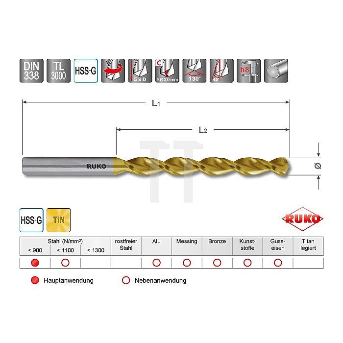 Spiralbohrer DIN 338 TL 3000 HSS TiN
