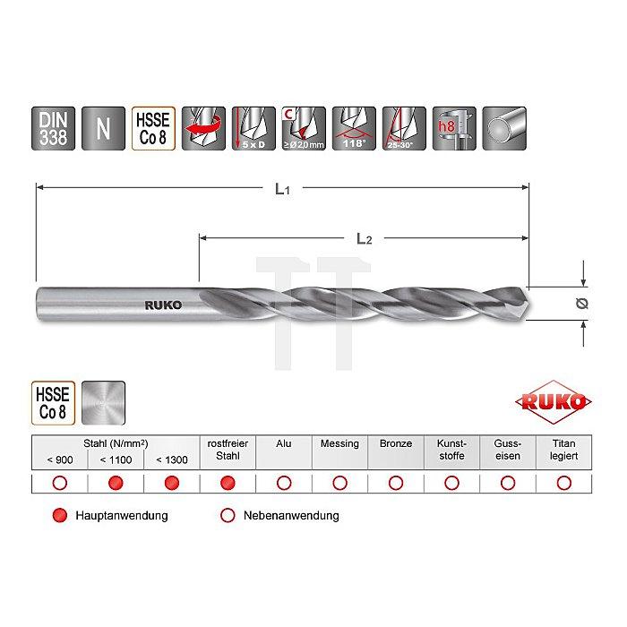 Spiralbohrer DIN 338 Typ N HSSE Co 8