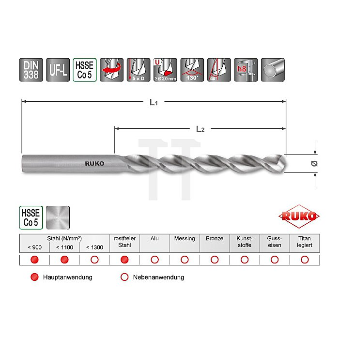 Spiralbohrer DIN 338 Typ UF-L HSSE Co 5
