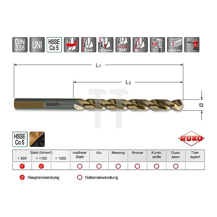 Spiralbohrer DIN 338 Typ UNI HSSE Co 5