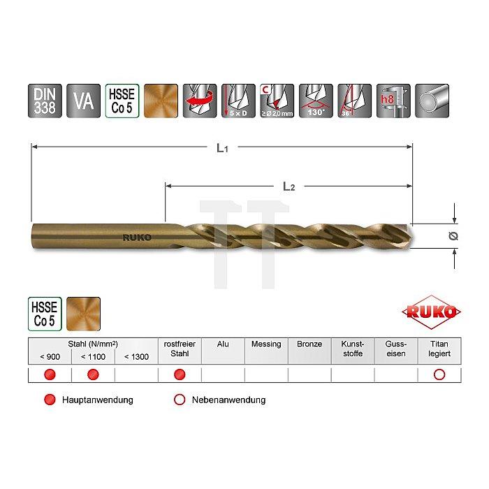 Spiralbohrer DIN 338 Typ VA HSSE Co 5