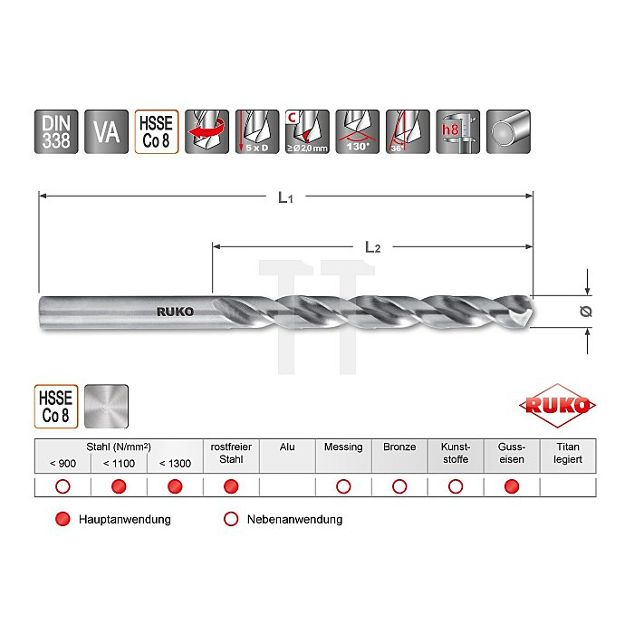 Spiralbohrer DIN 338 Typ VA HSSE Co 8