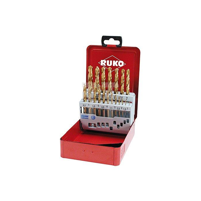 Spiralbohrersatz DIN 338 Typ N HSS G TiN in Industriekassette