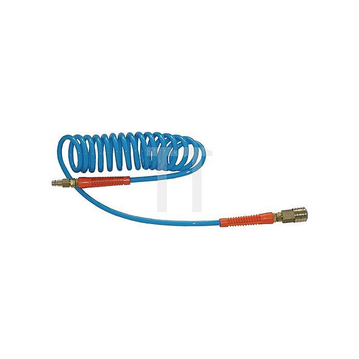 Spiralschlauch Schlauch-L.10m blau G1/4Z PUR
