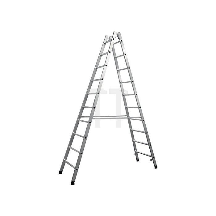 Sprossenstehleiter Alu. 2x10 Sprossen Arbeits-H. bis ca.4000mm