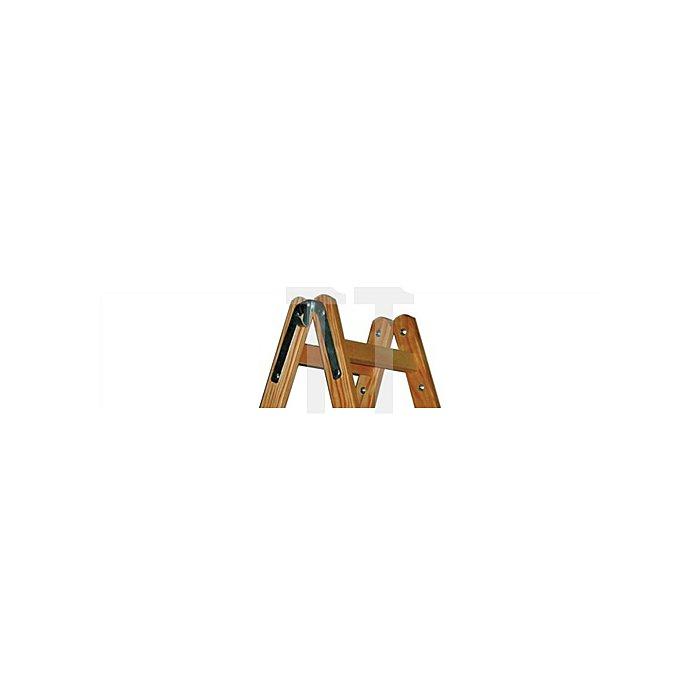 Sprossenstehleiter Holz 2x12Sprossen 2seitig Leiter-L.3460mm m.Si.-Kette