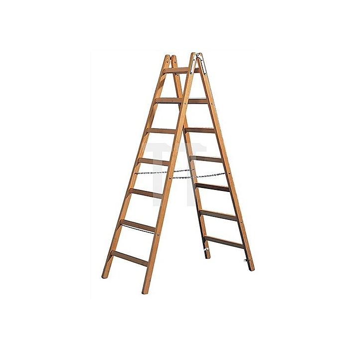 Sprossenstehleiter Holz 2x8Sprossen 2seitig Leiter-L.2340mm m.Si.-Kette