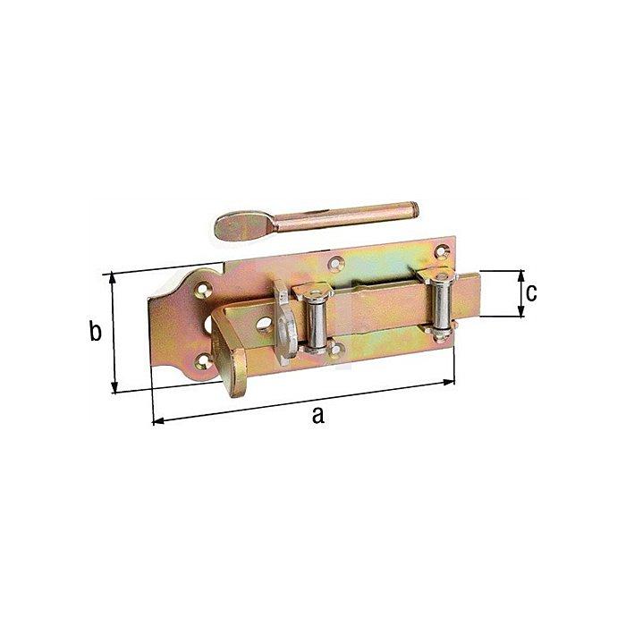 Stalltür-Rollen-Schlossriegel 200x80x30x26x86mm Stahl roh galv. gelb verz.