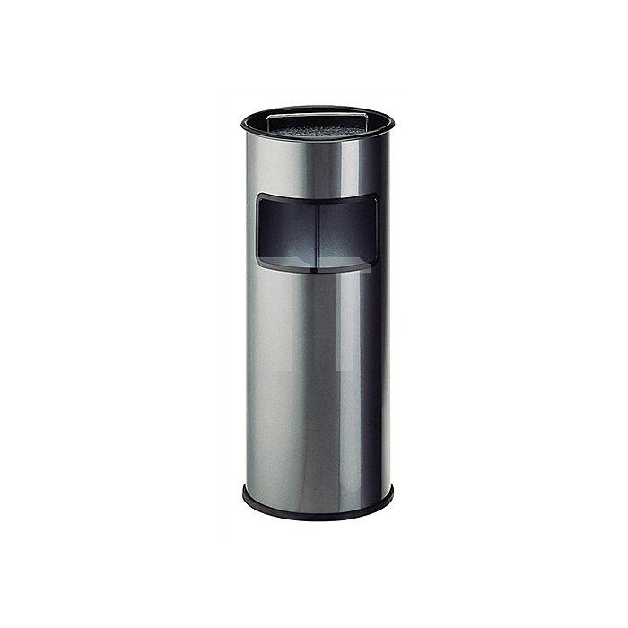 Standascher 50l H.730xD.320mm Stahl neusilber m.Abfallsammler