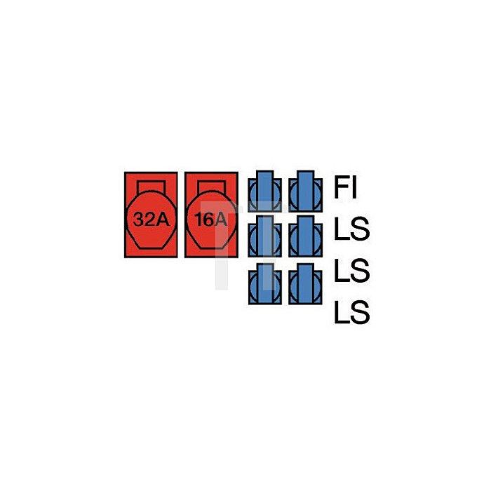 Standstromverteiler IP44 32A 400V 5polig H07RN-F5 G 4mm2 je 1xCEE 32+16A 6x230V