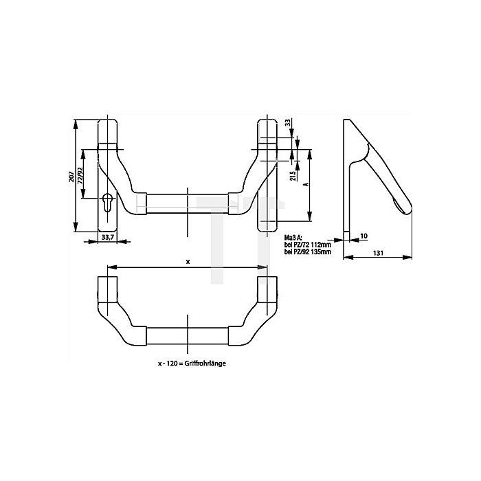 Stangengriff Gangflügel ohne Griffrohr Lochung PZ Entf. 72mm Edelstahl matt