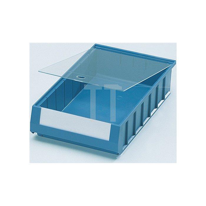 Staubdeckel PS glasklar 10 St./VE für Regalkastenmaß L600xB117mm