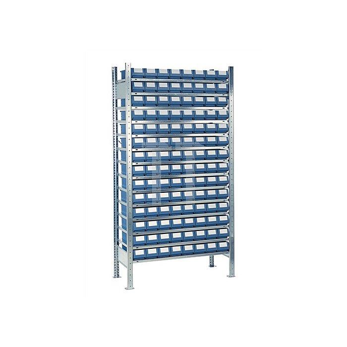 Steck-Anbauregal H2000xB1000xT300mm 14 Böden 112 Kästen Gr. 1 blau