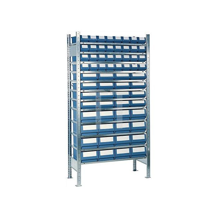 Steck-Anbauregal H2000xB1000xT500 12 Böden Kästen: 32xGr.7,16xGr.8,16xGr.9 blau