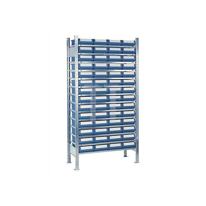 Steck-Grundregal H2000xB1000xT300mm 14 Böden 56 Kästen Gr. 2 blau