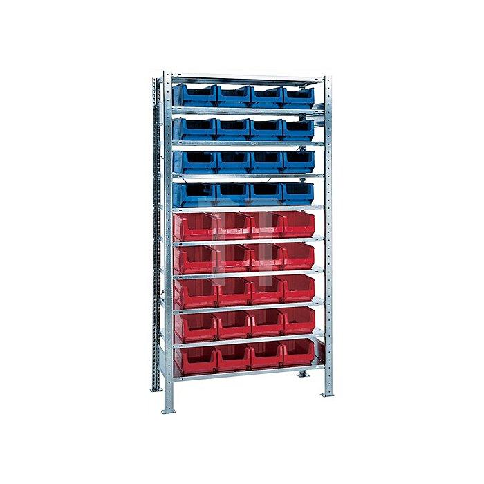 Steck-Grundregal H2000xB1000xT400 10 Böden Sichtlagerk. 16xMK3z blau 20xMK3z rot