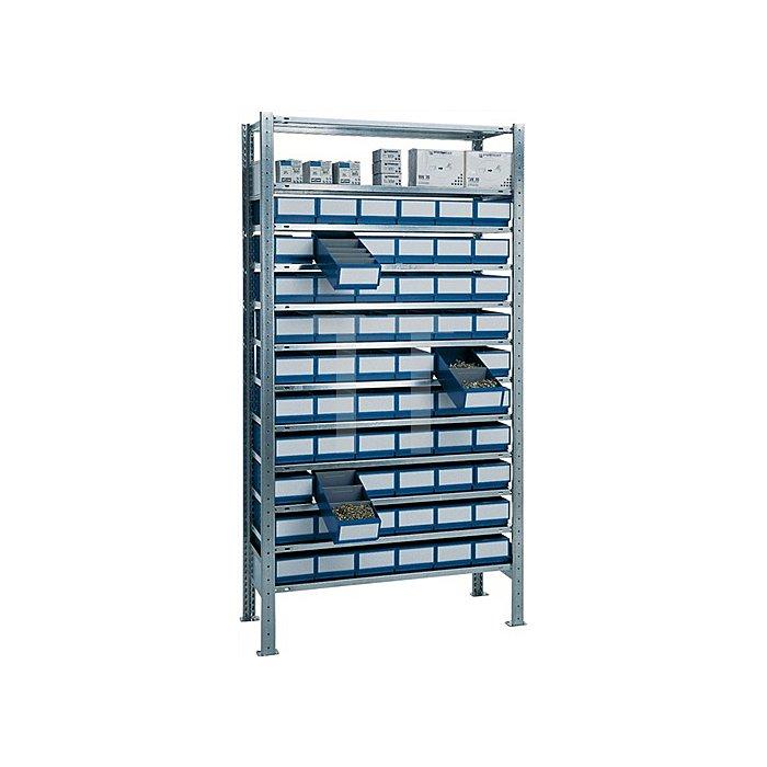 Steck-Grundregal H2000xB1000xT400mm 12 Böden Regalboxen 30xblau, 30xgrau L.400mm