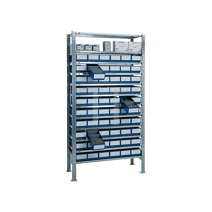 Steck-Grundregal H2000xB1000xT400mm 12 Böden Regalboxen 60x blau L.400mm