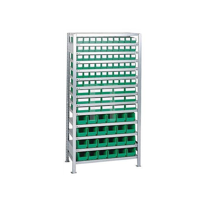 Steck-Grundregal H2000xB1000xT400mm 16 Böden Lagerboxen 90xGr.3, 30xGr.4 blau