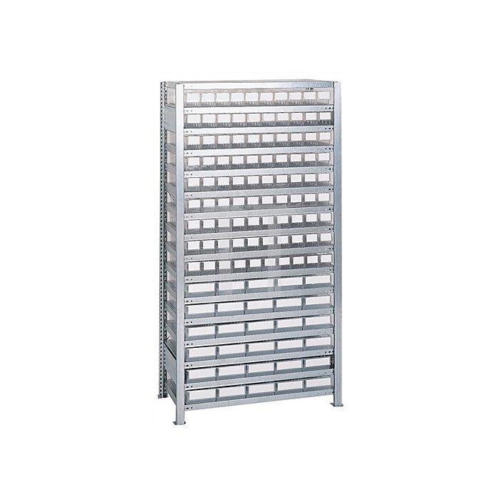 Steck-Grundregal H2000xB1000xT400mm 16 Böden Lagerboxen 90xGr.3 30xGr.4 transpa.