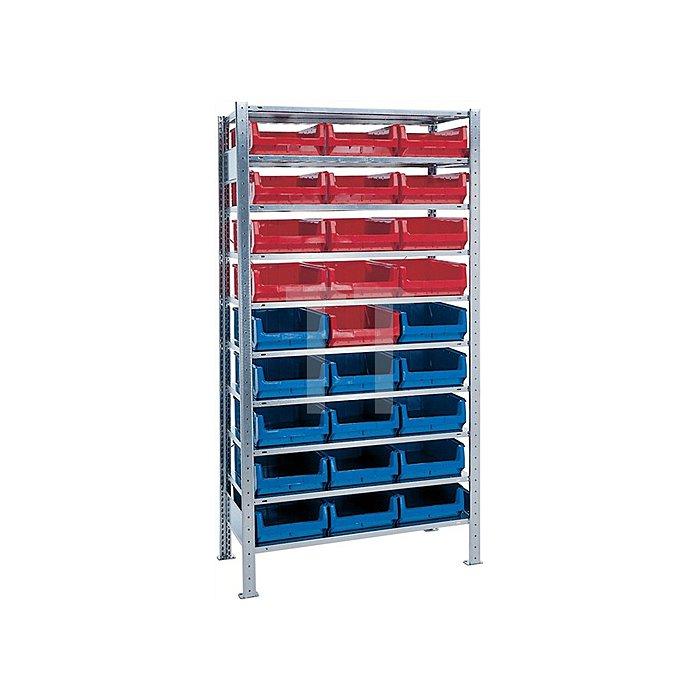 Steck-Grundregal H2000xB1000xT500 10 Böden Sichtlagerk. 14xMK2z blau 13xMK2z rot