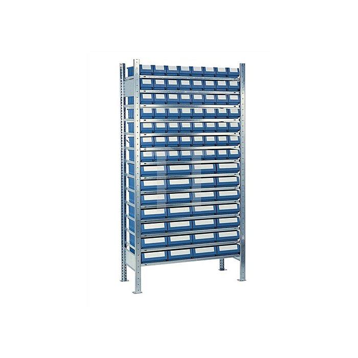 Steck-Grundregal H2000xB1000xT500mm 14 Böden Kästen: 56xGr. 7, 28xGr.8 blau