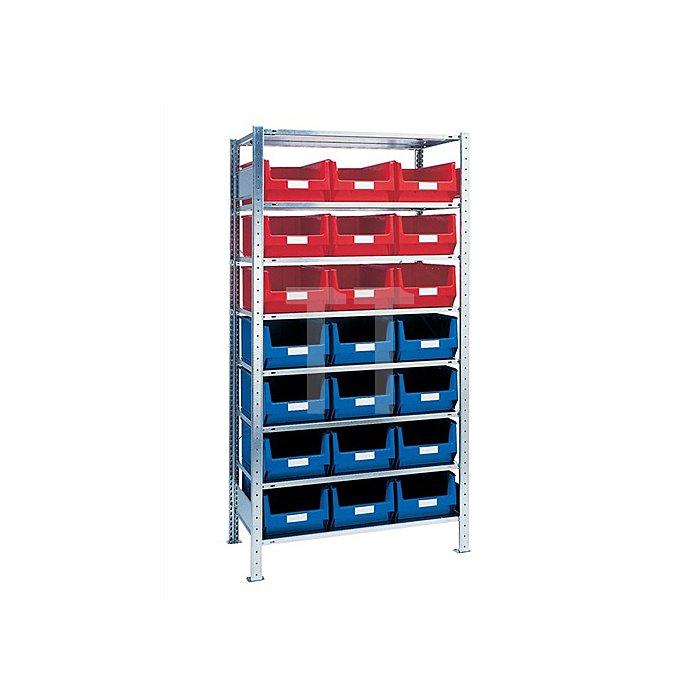 Steck-Grundregal H2000xB1000xT500mm 8 Böden Sichtlagerk. 12xMK2 blau 9xMK2 rot