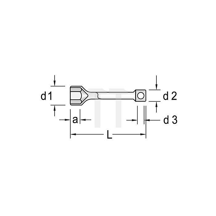 Steckschlüssel 6KT 80mm m.Drehstift CV.