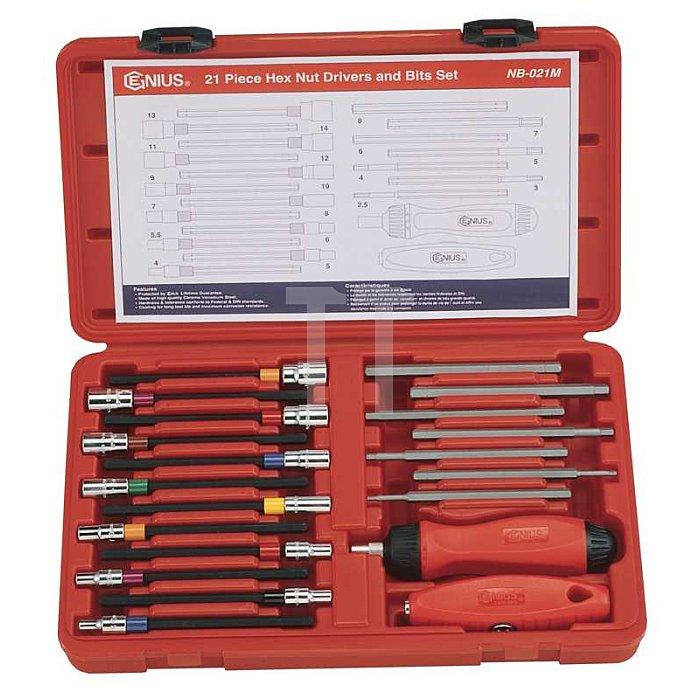 Steckschlüssel Schraubendreher Satz Nüsse 4 - 14mm & Inbuss 2.5 - 8mm metrisch 21tlg.