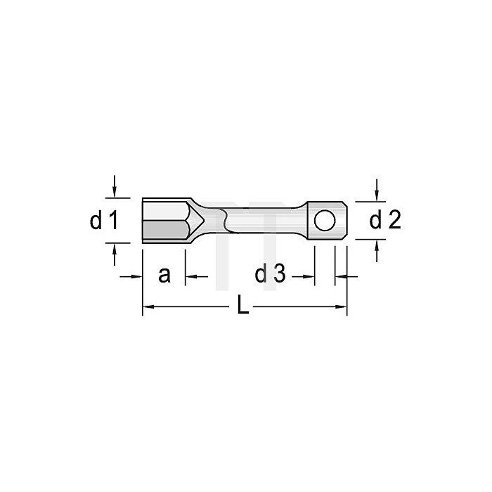 Steckschlüssel SW 6mm 4KT m.Drehstift CV.