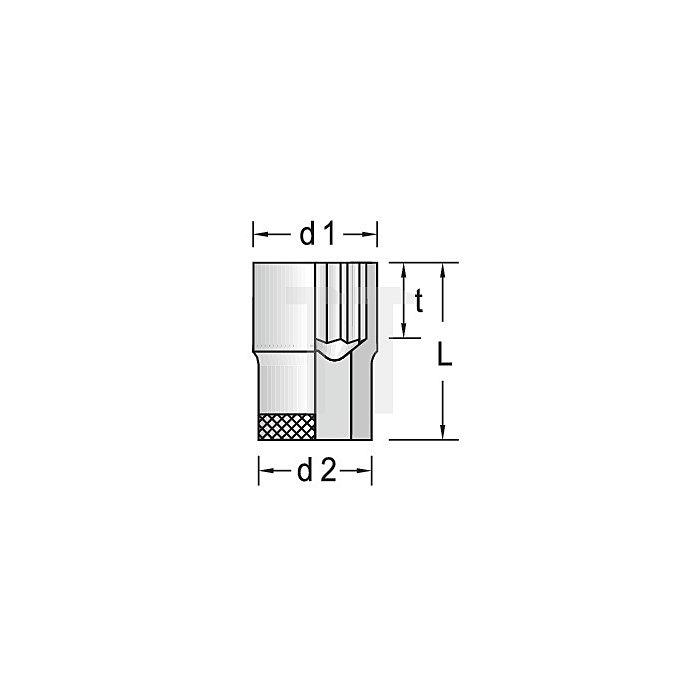 Steckschlüsseleinsatz 1/2Zoll NC UD-Profil 1/2Zoll