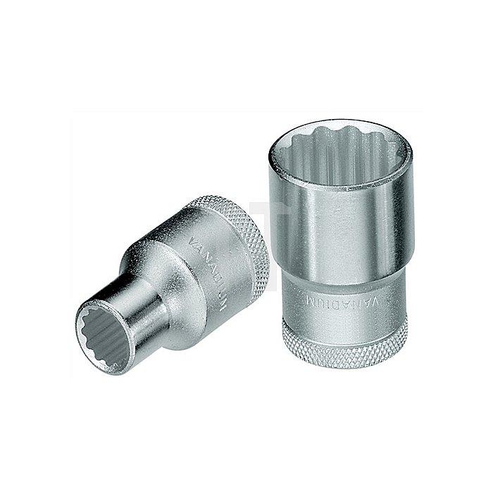 Steckschlüsseleinsatz 1/2Zoll SW 11mm Gesamt-L.38,0mm 12-KT CV Stahl UD-Profil