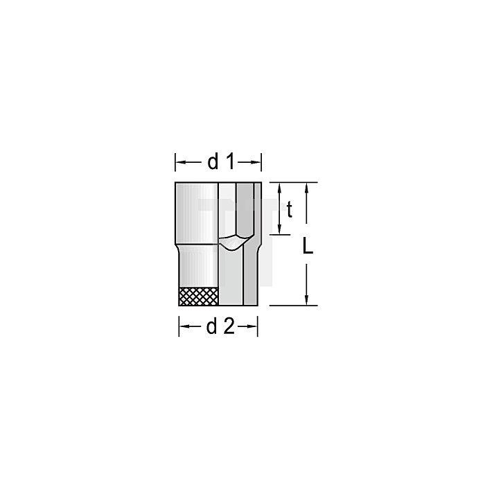 Steckschlüsseleinsatz 3/8Zoll NC 6-kant 13mm