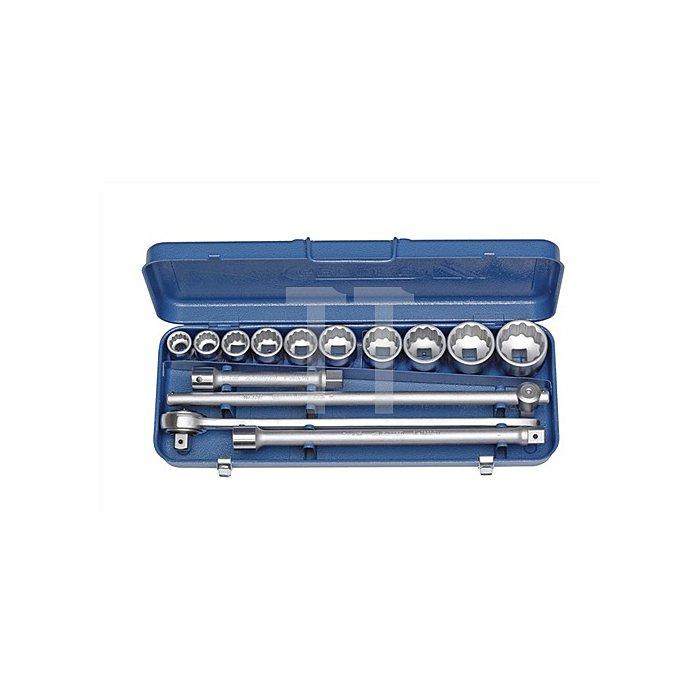 Steckschlüsselsatz 3/4Zoll 14tlg. 12KT Profil Durchsteckknarre metrisch