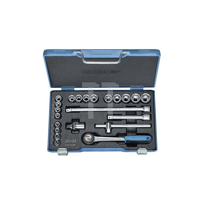 Steckschlüsselsatz 3/8Zoll 23tlg. 6-22mm 6KT Profil m.Umschaltscheibe