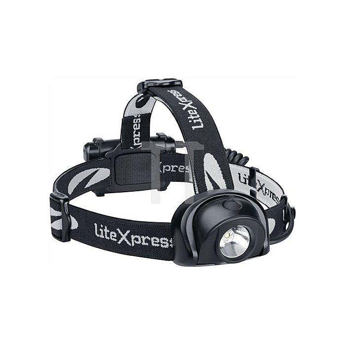 Stirnleuchte schwarz L63xB33xH48mm Leuchtw.150m 70h 3 Microzellen