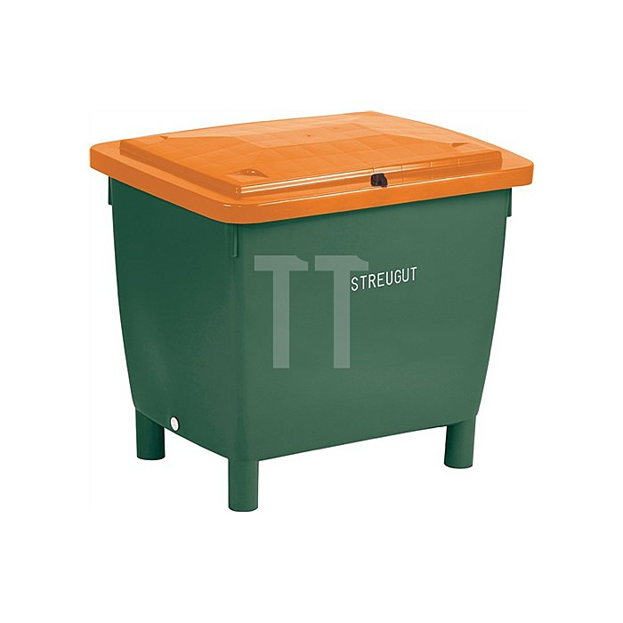 Streugutbehälter 210l 1000x700x500mm m.Entnahmerutsche Ku. grün/orange