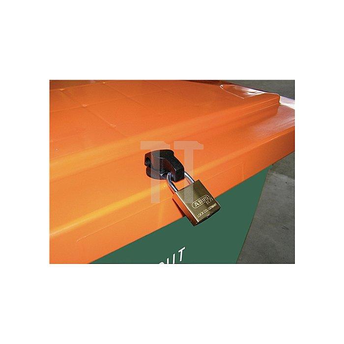 Streugutbehälter 400l 1000x700x850mm m.Entnahmerutsche Ku. grün/orange