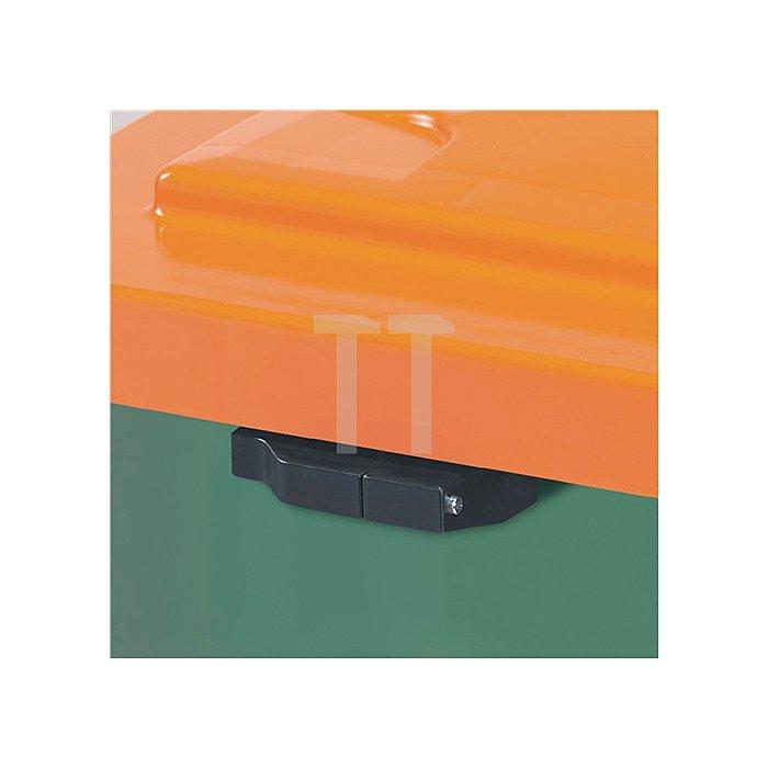 Streugutbehälter 400l 1000x700x850mm o.Entnahmerutsche Ku. grün/orange