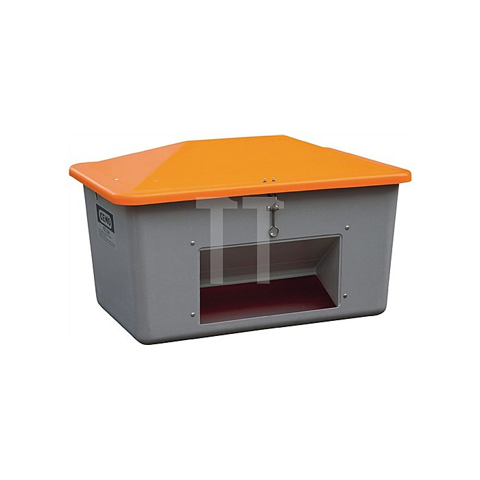 Streugutbox Plus 400l grau/orange 1200x800x720mm m.Entnahmeöffn.
