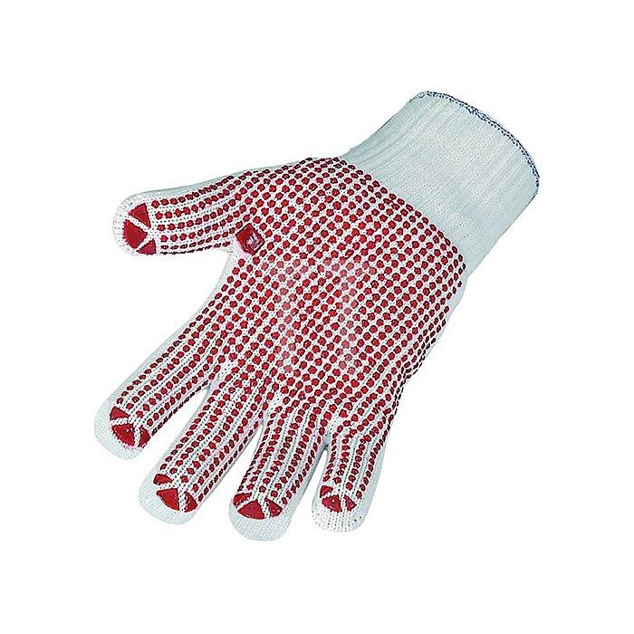 Strickhandschuh Gr. 10 Polyester/Baumwolle einseitig rot benoppt