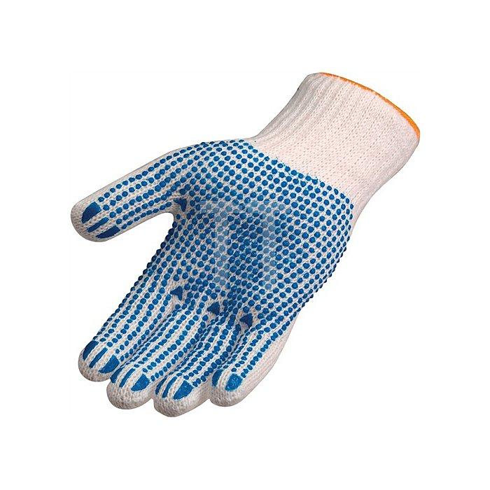 Strickhandschuh Gr. 9/10 Polyester/Baumwolle einseitig blau benoppt