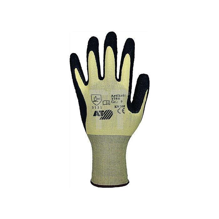 Strickhandschuhe Gr.9 Latexbeschicht. gelb/schwarz Feinstrick schrumpfgerauht