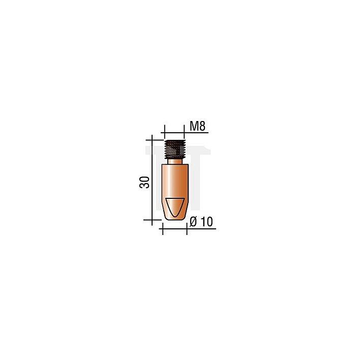 Stromdüse M8, Draht-D.1,6mm L.30mm E-Cu