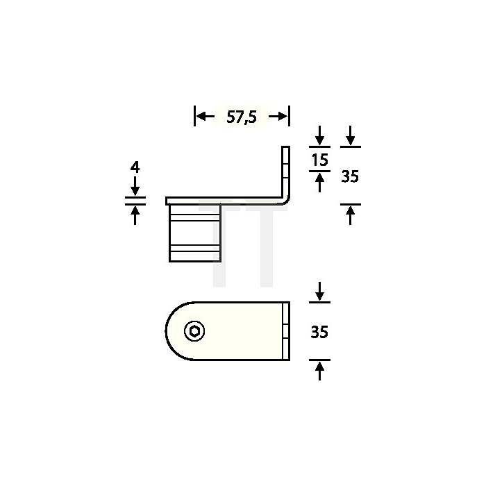 Stütze 6716 14 45 Grad seitlich re.innen gewinkelt VA feinmatt 6204